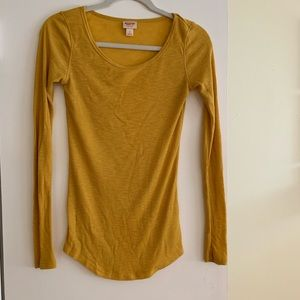 Thermal mustard yellow long sleeve top